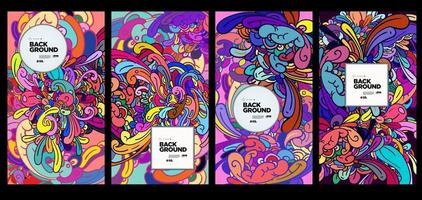 Vector colorful abstract ethnic doodle background ornament