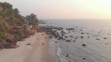 People walking on Arambol sand beach, palm trees and calm waters. Goa, India. video