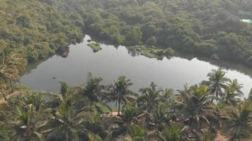 lago doce na praia de arambol, goa, índia. tomada aérea de estabelecimento video