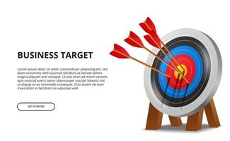 flecha de tiro con arco exitosa en el tablero de destino 3d. concepto de ilustración de logro de objetivos de negocio