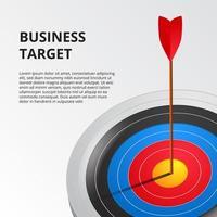 flecha única de tiro con arco con éxito en el tablero de destino 3d. concepto de ilustración de logro de objetivos de negocio.