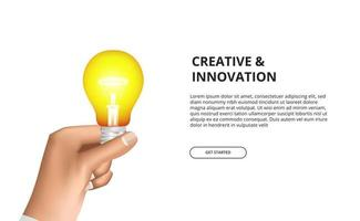 Creative innovation of hand holding 3D light bulb yellow glowing vector