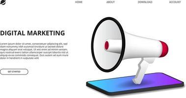 concepto de marketing digital con ilustración de megáfono con perspectiva 3d smartphone para promoción publicitaria en Internet