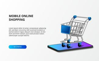 3d isometric illustration trolley with smartphone. Online store shopping and e commerce concept.