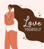 love yourself plus size woman in underwear vector design