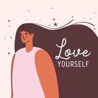 love yourself plus size woman vector design