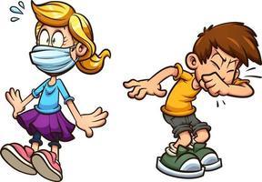 niño de dibujos animados estornudos vector