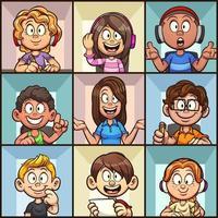 Virtual cartoon classroom vector
