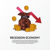 crisis financiera empresarial. recesión de la economía mundial. inflación y quiebra. Ilustración de bolsa de dinero, dinero dorado y flecha bajista roja