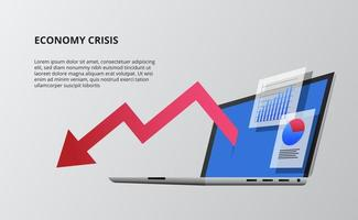 Bearish down economy with red arrow and device open laptop 3D perspective isometric. infographic data visualization vector