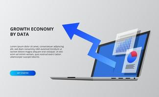 Blue arrow economy growth. Financial and infographic data vector