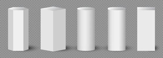 Geometric forms. Pedestals or podium, abstract geometric empty museum stages