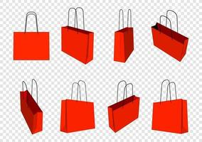 Set of red shopping bags mockup. Transparent background isolated vector