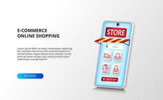 e-commerce and online shopping app on the 3D perspective smartphone with red outline fashion icons vector