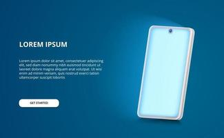 3D perspective smartphone mock up illustration with glowing blue light screen vector
