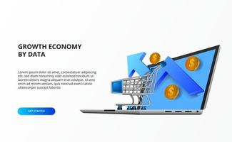 growth online economy online shopping concept with illustration of trolley, laptop computer, growth up arrow, golden coin money. vector
