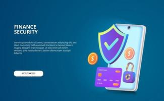 financial security payment concept. Modern illustration with glow screen and gradient color. shield, padlock, coin, credit card 3D with smartphone vector