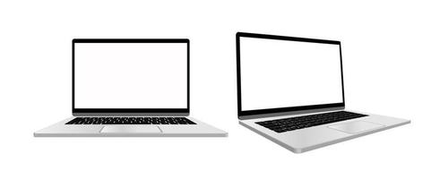 Vector realistic Laptop computer mockup. Laptop computer frame with blank display isolated