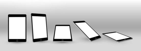 maqueta realista 3d de tablet pc. marco de pc de tableta con plantillas de visualización en blanco vector