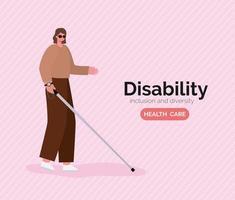 cartel de concienciación sobre discapacidad con mujer ciega vector