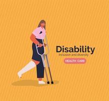 Cartel de concientización sobre discapacidad con mujer con yeso en la pierna y muletas diseño vectorial vector