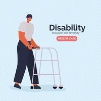 Cartel de concientización sobre discapacidad con hombre con diseño de vector de andador