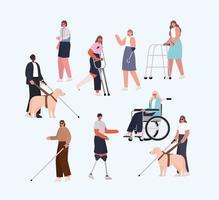 conjunto de personas con discapacidad vector