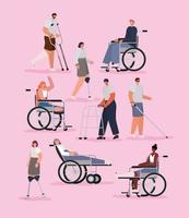 People with disabilities set vector