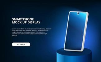 mock up of modern elegant screen 3D smartphone with glow light and dark background. vector