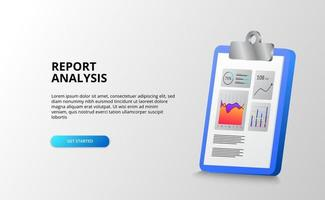 Report and data stats graph analysis with clipboard 3D for finance, business, accounting, office. vector