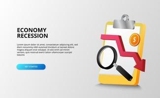 economía depresión y recesión concepto de análisis de crisis financiera con portapapeles, lupa y moneda de dólar. vector
