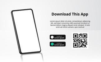 Publicidad de banner de página de destino para descargar la aplicación para teléfono móvil, teléfono inteligente 3d con reflejo. descargar botones con plantilla de escaneo de código qr. vector