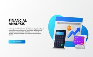 economía de mercado de crecimiento, análisis y auditoría del concepto de negocio de finanzas. Calculadora 3D, moneda, tarjeta de crédito para la página de destino. vector