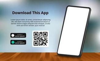 Publicidad de banner de página de destino para descargar la aplicación para teléfono móvil, teléfono inteligente 3d con piso de madera y fondo borroso. descargar botones con plantilla de escaneo de código qr. vector