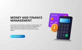 Concepto de ilustración 3D de gestión de dinero y finanzas con cálculo, análisis, impuestos