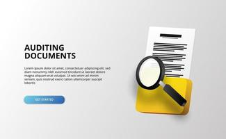 3d check and auditing file documents archive illustration for business vector
