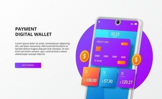 Concepto de ilustración electrónica de transacción de billetera de comercio electrónico digital de teléfono 3d con tarjeta de crédito y moneda de oro vector