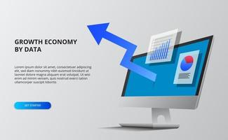Blue arrow economy growth. Financial and infographic data. 3D computer screen