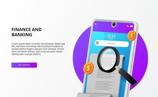 bills payment check audit accounting with 3d phone, money, and magnifying glass vector