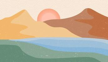 Creative minimalist hand painted abstract arts background. Nature mountain landscape painting with Japanese wave pattern vector.