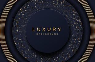 Fondo elegante de lujo con patrón punteado de oro brillante aislado en negro. Fondo de papercut realista abstracto. plantilla de portada elegante vector
