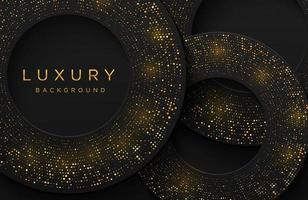 Luxury elegant 3d shape background with shimmering gold dotted pattern isolated on black. Abstract realistic papercut background. Elegant template vector