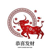 red color fortune lucky with ox zodiac animal Chinese new year vector