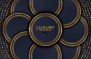 Luxury elegant background with shiny gold circle element and dots particle on dark black metal surface. Business presentation layout vector
