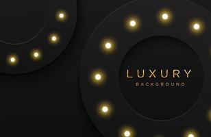 Luxury elegant background with shiny gold dotted pattern and light bulb isolated on black. Abstract realistic papercut background. Elegant template vector