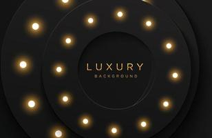 Luxury elegant 3d shape background with shiny light bulb composition isolated on black. Abstract realistic papercut background. Elegant template vector