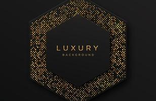 Luxury elegant 3d shape background with shimmering gold dotted pattern isolated on black. Abstract realistic black papercut background. Elegant template vector
