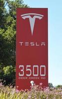 Tesla Headquarters sign in Palo Alto, California