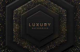 Luxury elegant 3d hexagon shape background with shimmering gold dotted pattern and lines isolated on black. Abstract realistic black papercut background. Elegant template vector