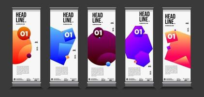 Vector colorful geometric and curve roll up banner design